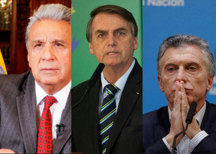 En la imagen, Lenín Moreno, Bolsonaro y Macri