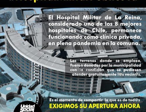 Iniciativa de Unidad Social de La Reina: Campaña para abrir el Hospital Militar a dar atención gratuita a la comunidad